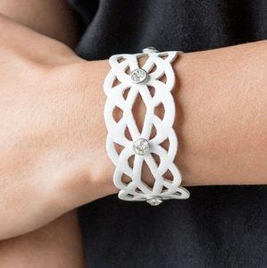 White Wrap Bracelet with Rhinestones.